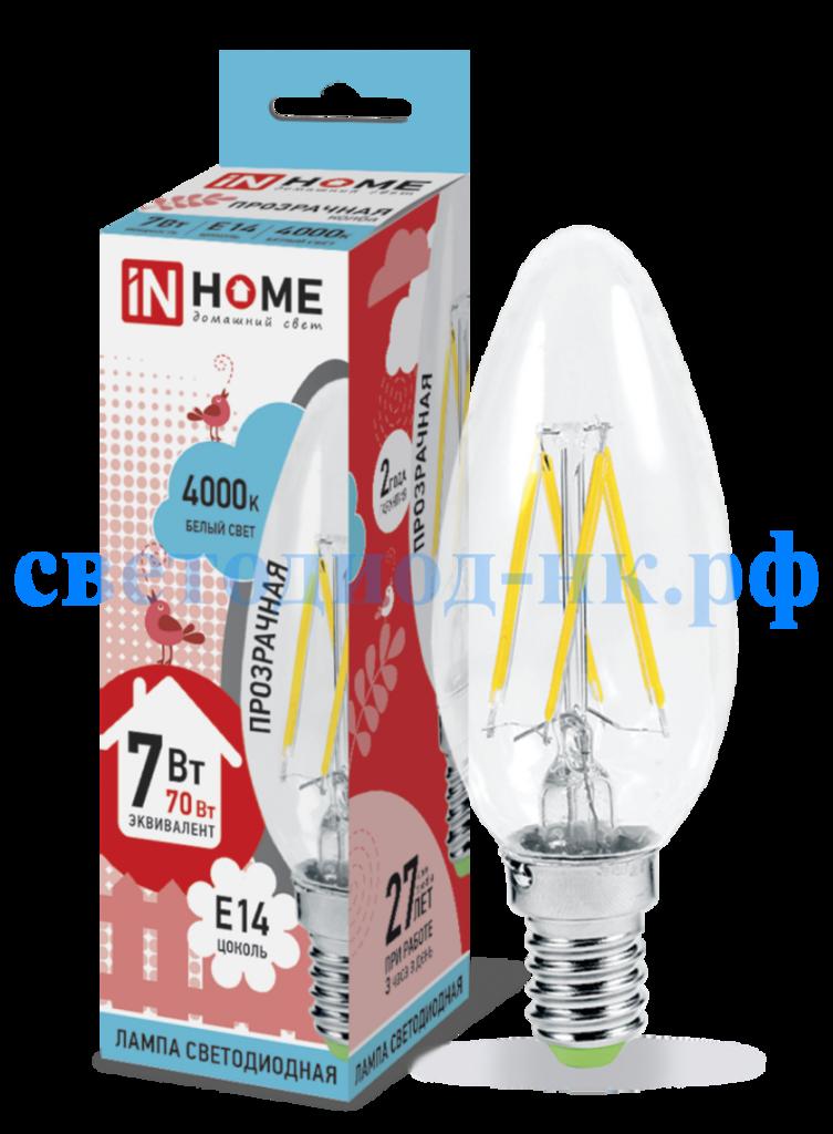 Цоколь Е14: Светодиодная лампа LED-свеча-deco 7Вт Е14 4000К IN HOME в СВЕТОВОД