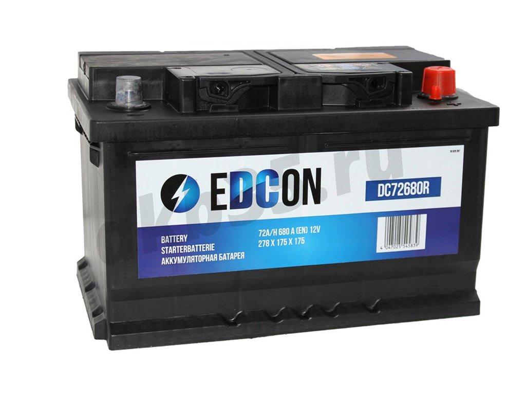 Аккумуляторы: EDCON 72 А/ч Обратный Низкий (DC72680R) в Планета АКБ