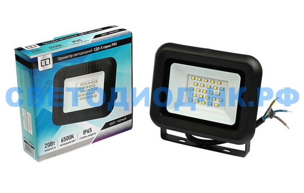 Светодиодные прожекторы: Прожектор светодиодный СДО-5-20 серии PRO 20Вт 230В 6500К 1900Лм IP65 LLT в СВЕТОВОД