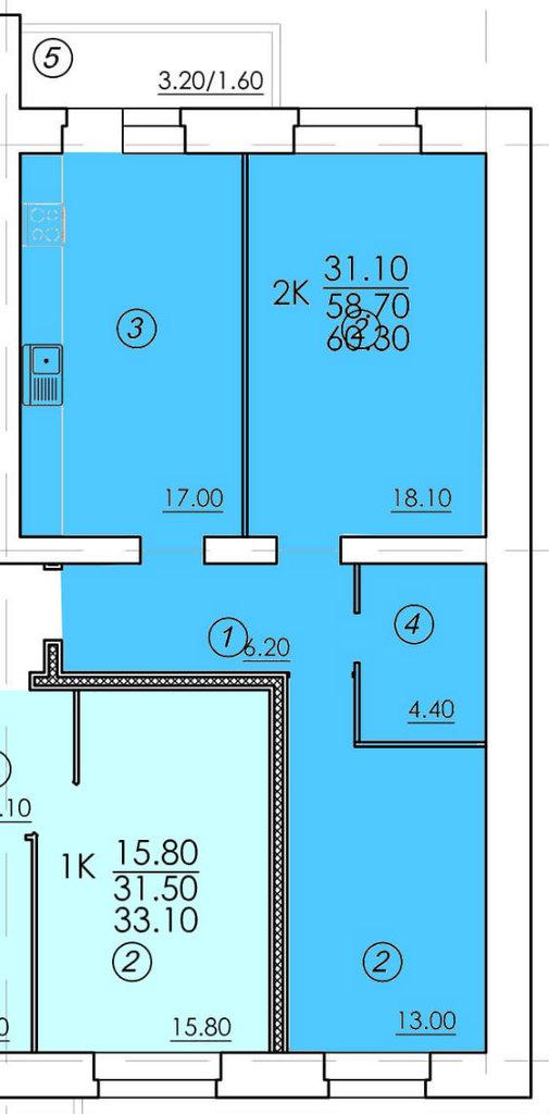Двухкомнатные квартиры: Двухкомнатная квартира (№59) в РСУ-15  Специализированный застройщик ООО