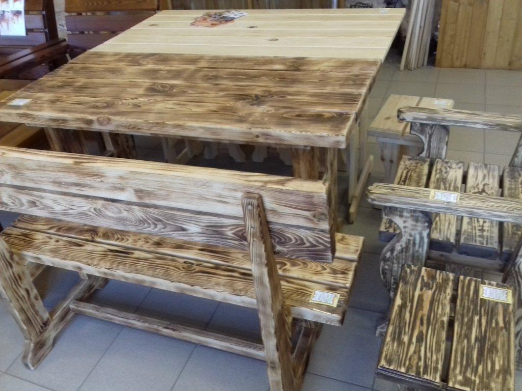 Стол , кресла и лавки (состаренные) в Погонаж