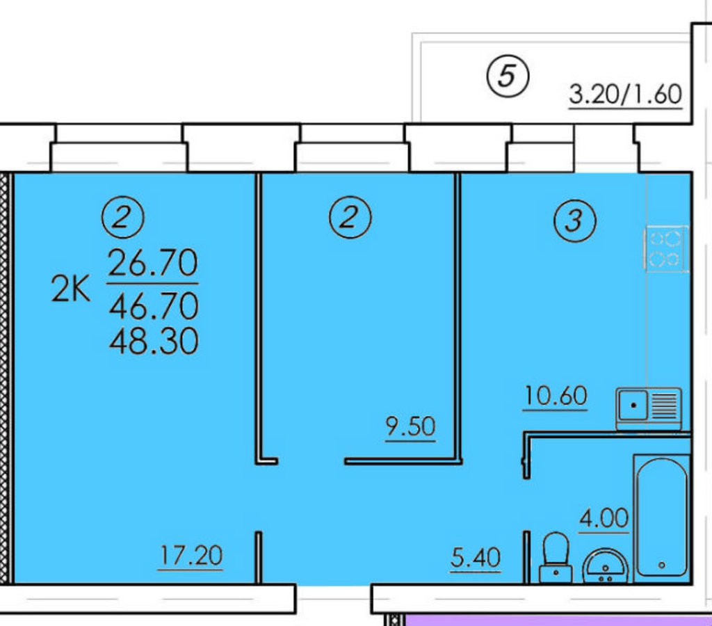 Двухкомнатные квартиры: Двухкомнатная квартира (№19) в РСУ-15  Специализированный застройщик ООО