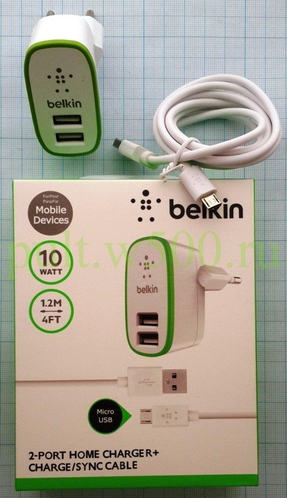 Сетевые ЗУ для телефонов + кабель: Сетевое зарядное устройство USB  2 выхода 5В 2,1А , со шнуром  Micro USB, 1.2 м, белое ( Belkin ) коробка в A-Центр Пульты ДУ
