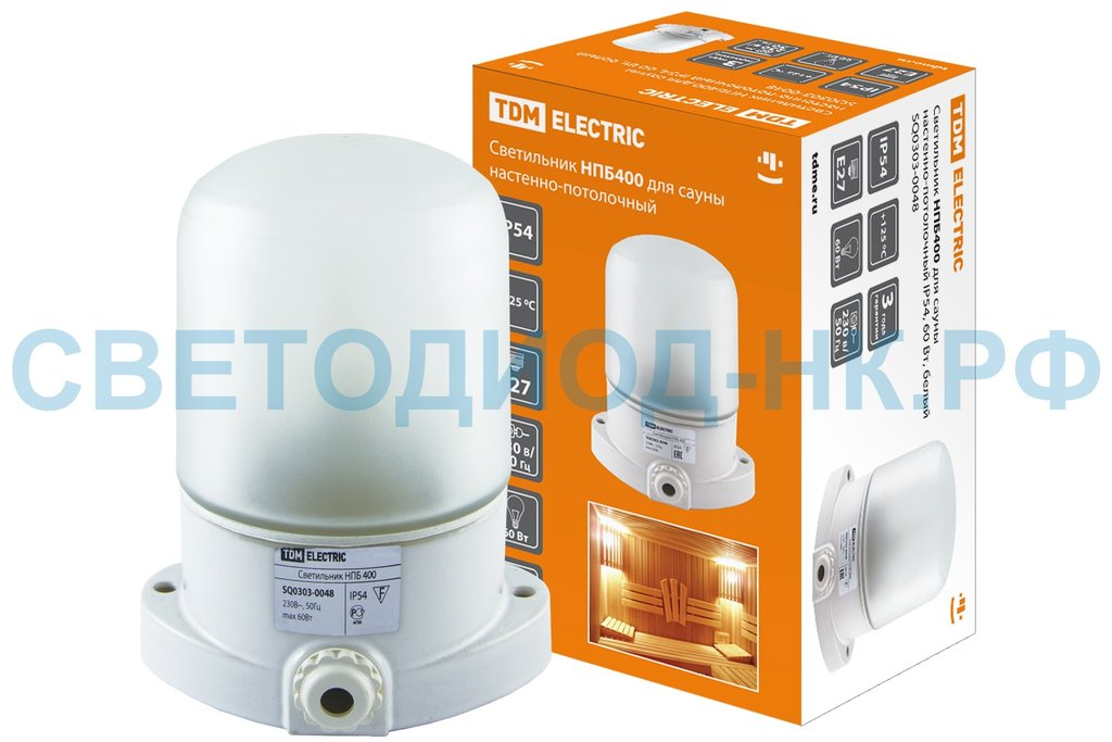 Светильники для бани, сауны: Светильник НПБ400 для сауны настенно-потолочный белый, IP54, 60 Вт, белый, TDM в СВЕТОВОД