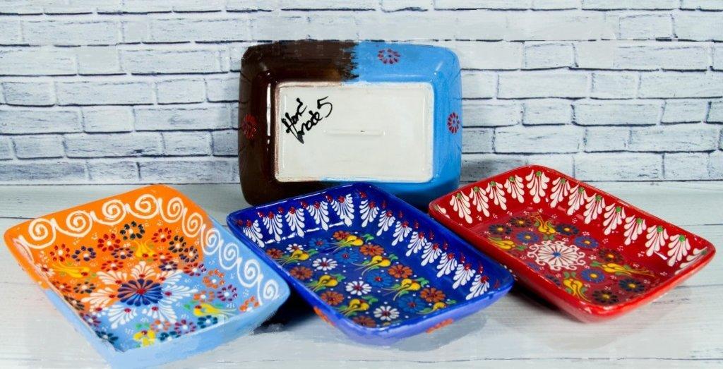 Казаны. Узбекская и турецкая посуда: Блюдо прямоугольное 20 см. точечное Турецкая керамика в Сельский магазин