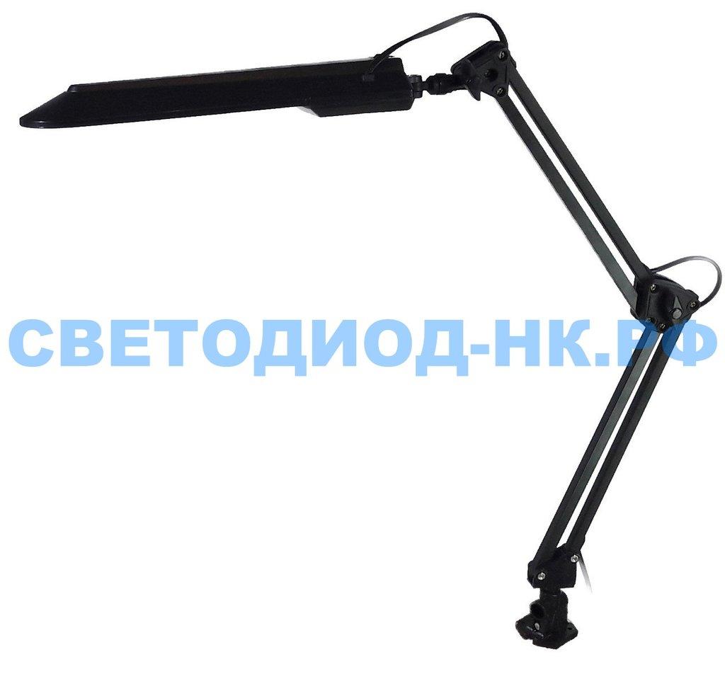 Настольные лампы, ночники: Лампа настольная Уютель UT-017С G23 8W, черная, светодиодная, на струбцине в СВЕТОВОД