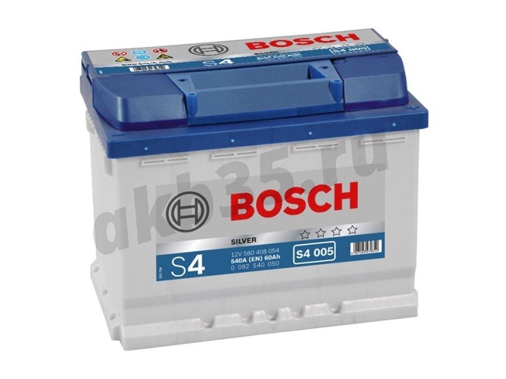 Аккумуляторы: BOSCH 60 А/ч Обратный S4 005 SILVER (560 408 054) в Планета АКБ