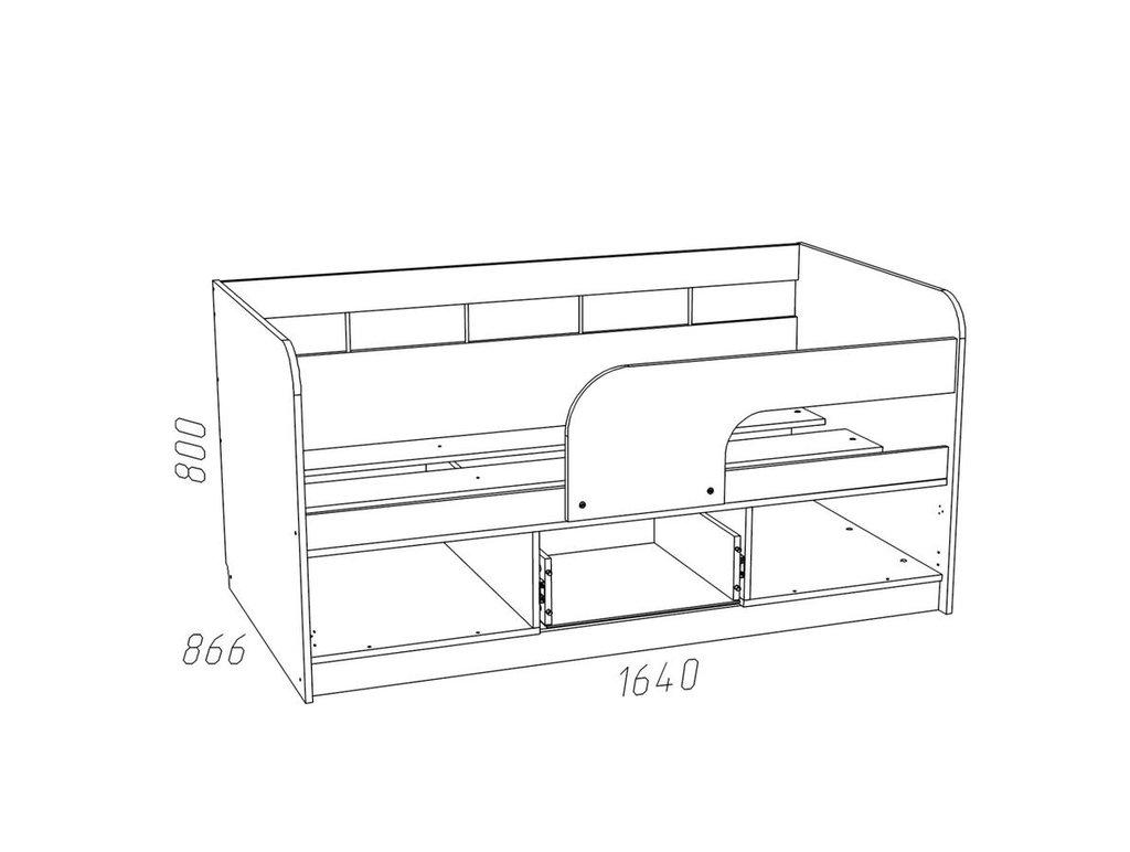 Детские и подростковые кровати: Кровать НМ 039.03 М Рико-М (800x1600, усилен. настил) в Стильная мебель