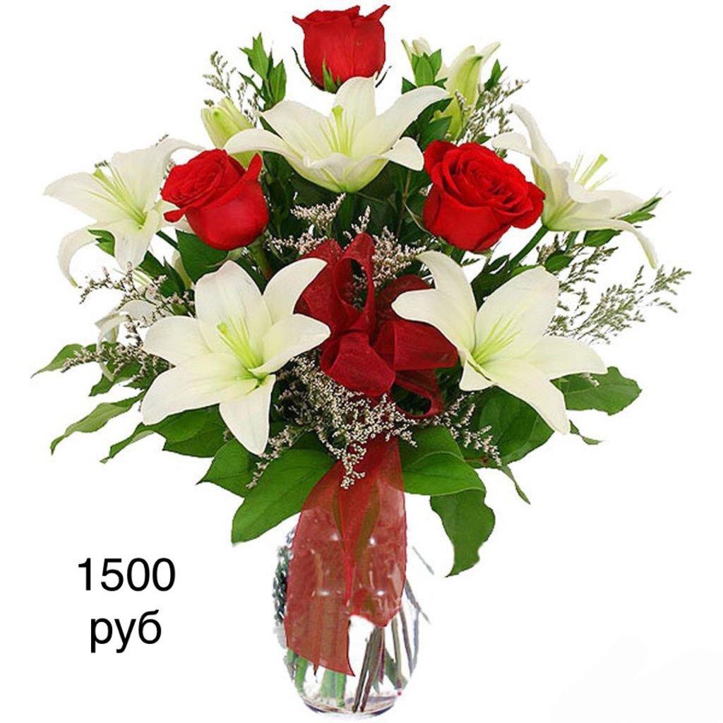 Букеты: Букет из роз с лилиями в Николь, магазины цветов