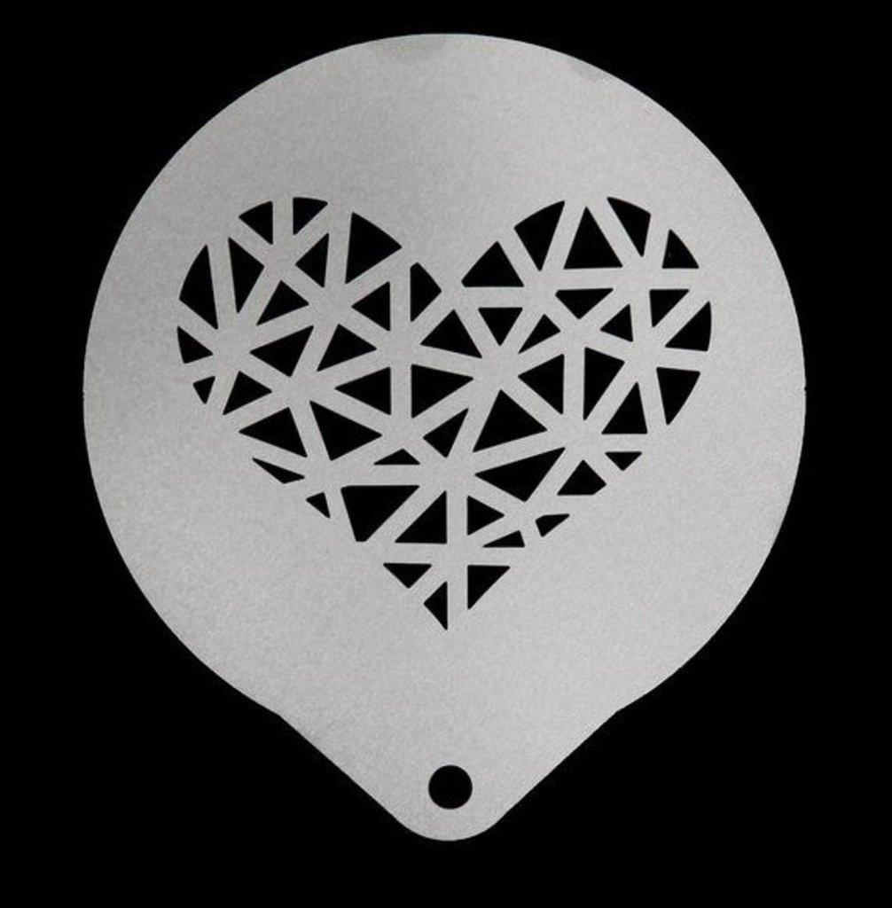 Кондитерский инвентарь: Трафарет для кофе и выпечки Графичное сердце в ТортExpress