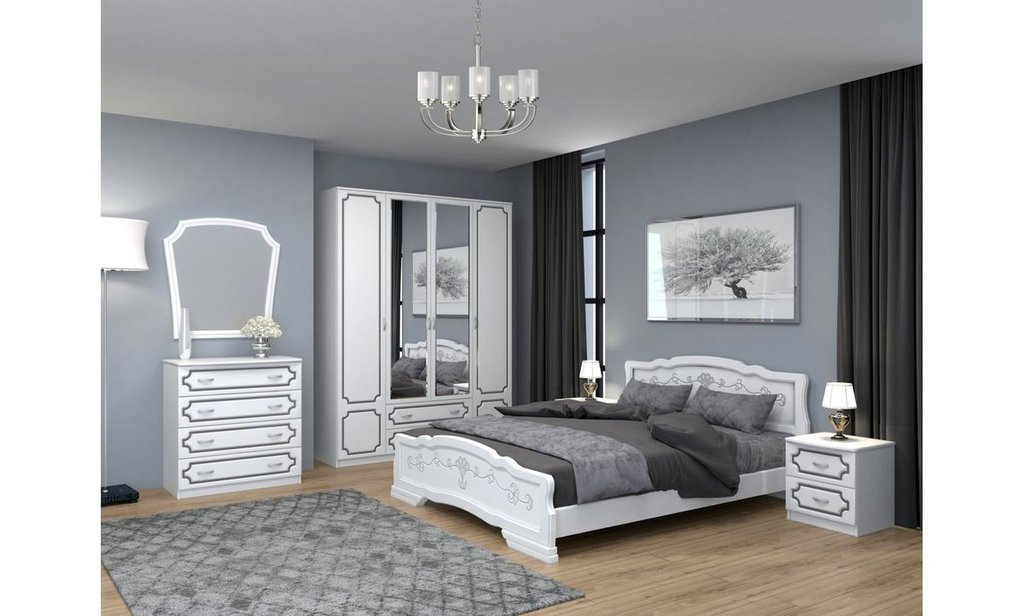 Спальный гарнитур Лакированный: Шкаф ШР-4 Лакированный, платье и бельё, 2 больших ящика в Уютный дом