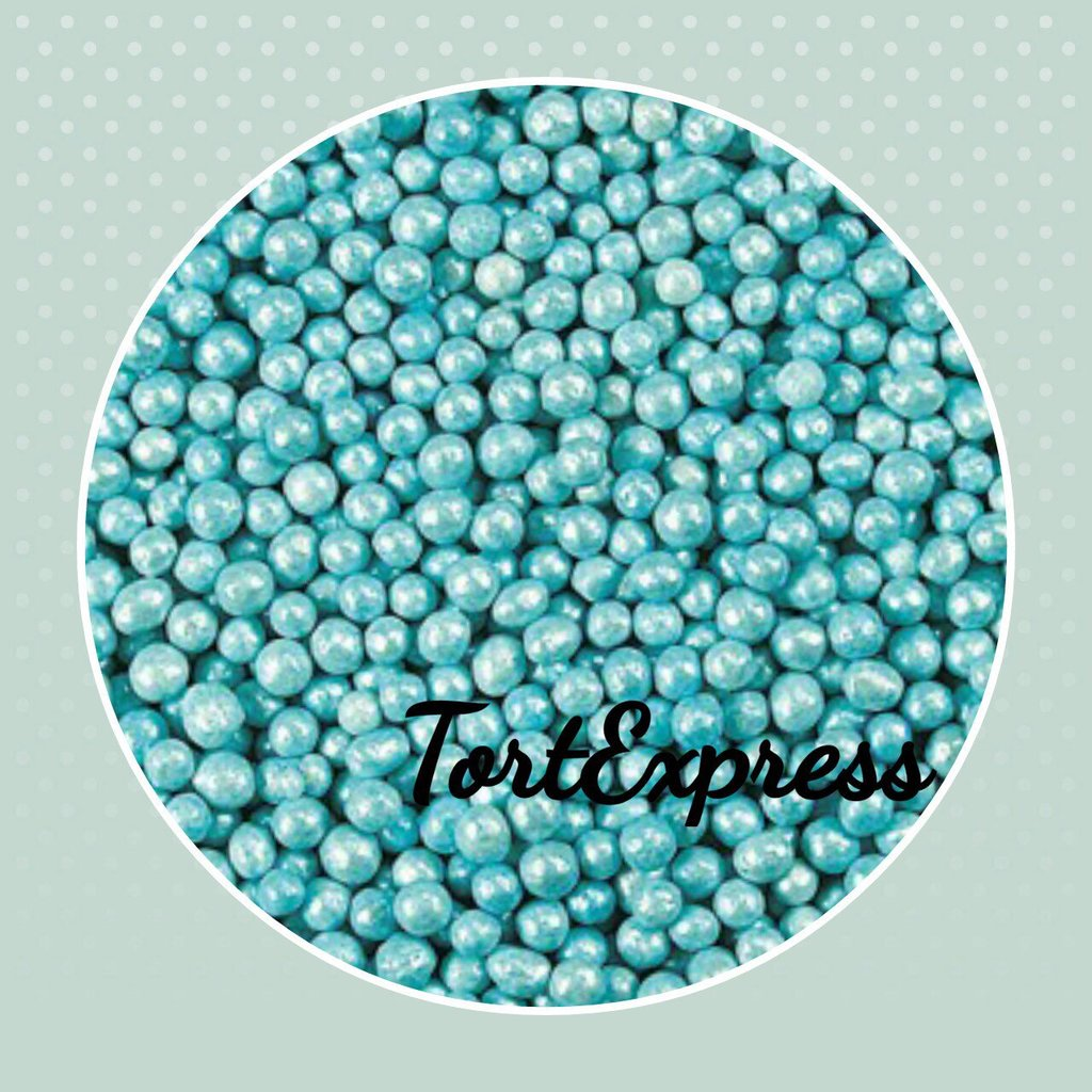 Посыпки декоративные: Шарики Голубые перламутровые (2 мм) в ТортExpress