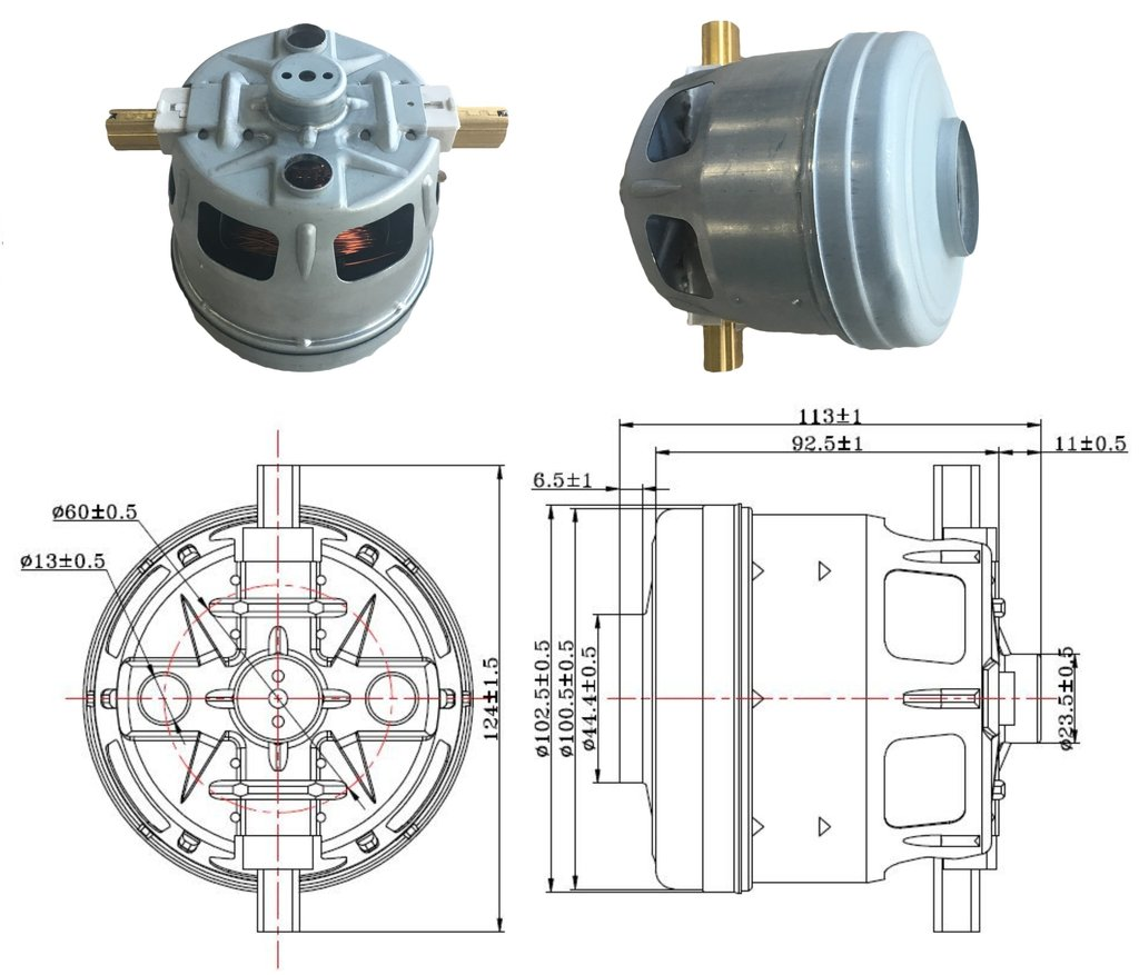 Запчасти для пылесосов: Мотор (двигатель) пылесоса 1600W, H=113mm, D100/95/вход45mm, Bosch VCM-B18, 1BA44186NK, 00751273, 00650525, 00650201, 11me134, VC07252Uw в АНС ПРОЕКТ, ООО, Сервисный центр