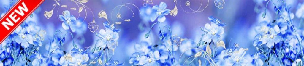 Фартуки ЛакКом 6 мм. с эффектом мерцания: Лён голубой - мерцание серебро в Ателье мебели Формат