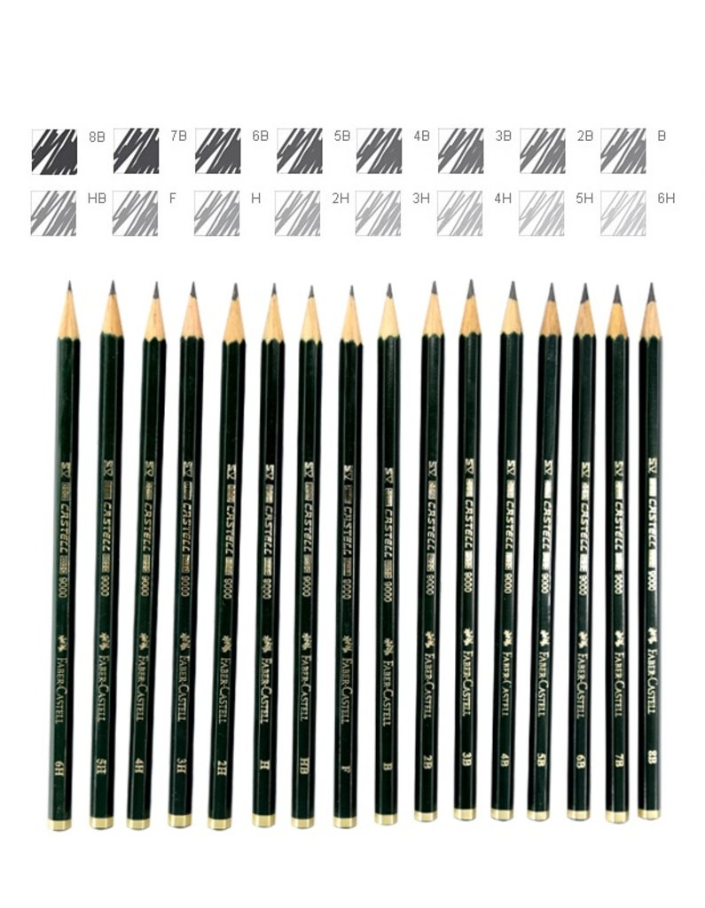 """Чернографитные карандаши: Карандаш чернографитный """"Faber-Castel-9000"""" 6B для письма,рисован.,эскизов, шестигранный 1шт в Шедевр, художественный салон"""