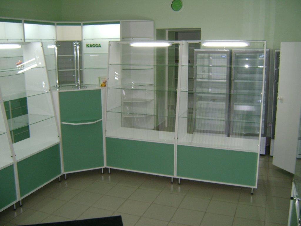 Мебель для аптеки: Витрины для аптек зелёные в Студия Мебели
