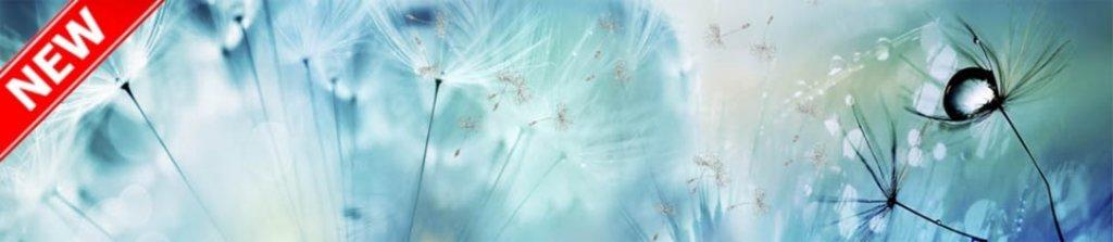 Фартуки ЛакКом 6 мм. с эффектом мерцания: Одуванчики №2 - мерцание серебро в Ателье мебели Формат