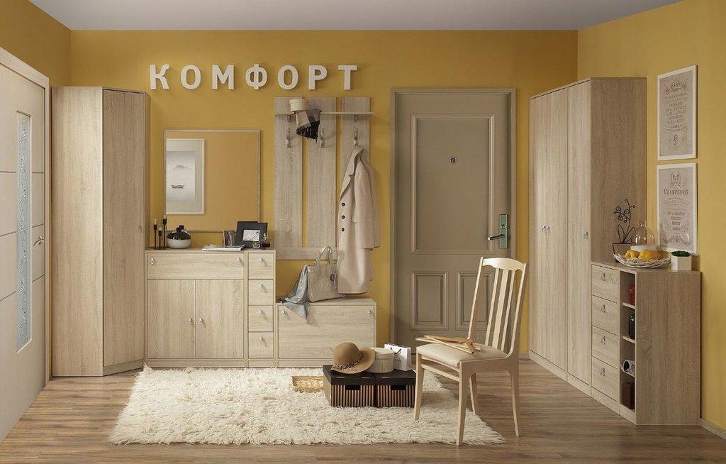 Мебель для прихожей Комфорт (Дуб Сонома): Мебель для прихожей Комфорт. Композиция 2 (Дуб Сонома) в Стильная мебель