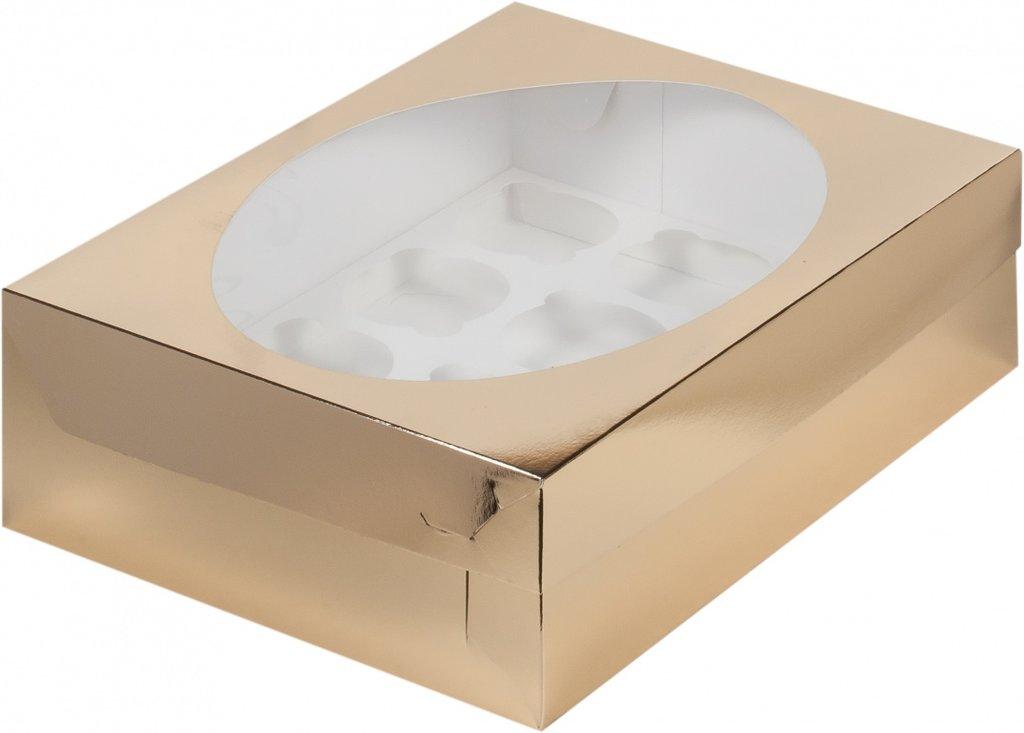 Упаковка: Коробка для 12 миникапкейков с окном ЗОЛОТО в ТортExpress