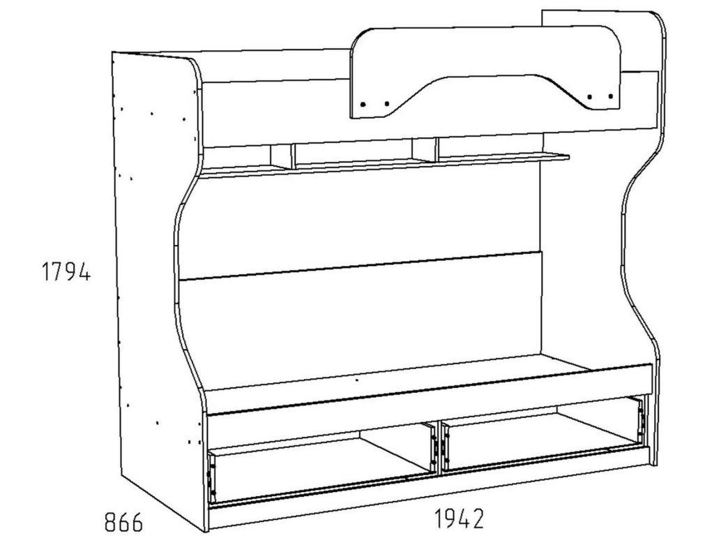 Детские и подростковые кровати: Кровать ИЧП 15.02 М4 Акварель (800х1900, усилен. настил) в Стильная мебель