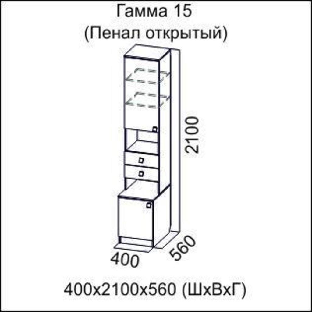 Мебель для гостиной Гамма-15: Пенал открытый Гамма-15 в Диван Плюс