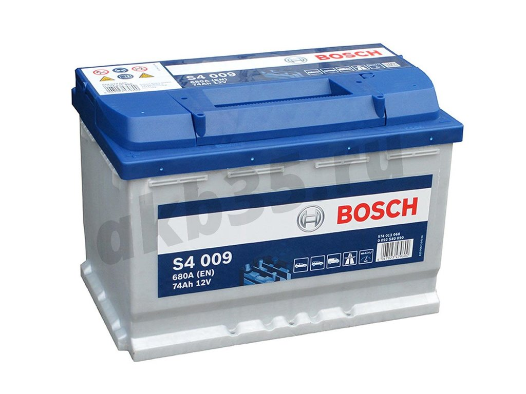 Аккумуляторы: BOSCH 74 А/ч Прямой S4 009 SILVER (574 013 068) в Планета АКБ