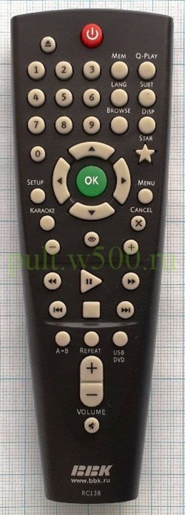 BBK: Пульт BBK RC138, RC-DVP101 (DVD) оригинал в A-Центр Пульты ДУ