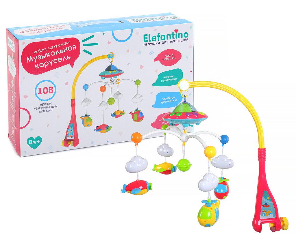 """Игрушки для малышей: Музыкальная карусель на кроватку """"Elefantino"""" на батарейках, ночник-проектор, 108 нежных мелодий, яркие игрушки. в Игрушки Сити"""