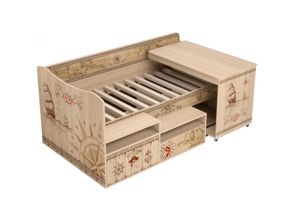 Детские и подростковые кровати: Комплекс универсальный 12 Квест (80х180, настил из брусков) в Стильная мебель