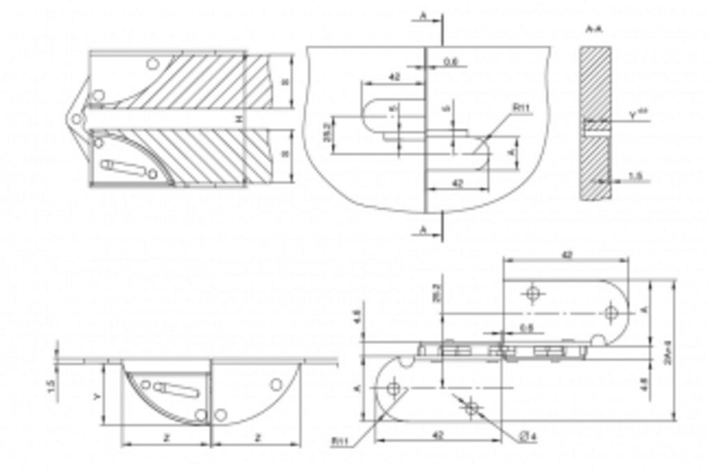Фурнитура для столов: Петля врезная 180, для ДСП 22 мм, отделка желтый цинк в МебельСтрой