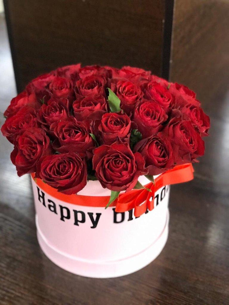 Композиции в коробочках: Композиция из красных роз в Первый цветочный