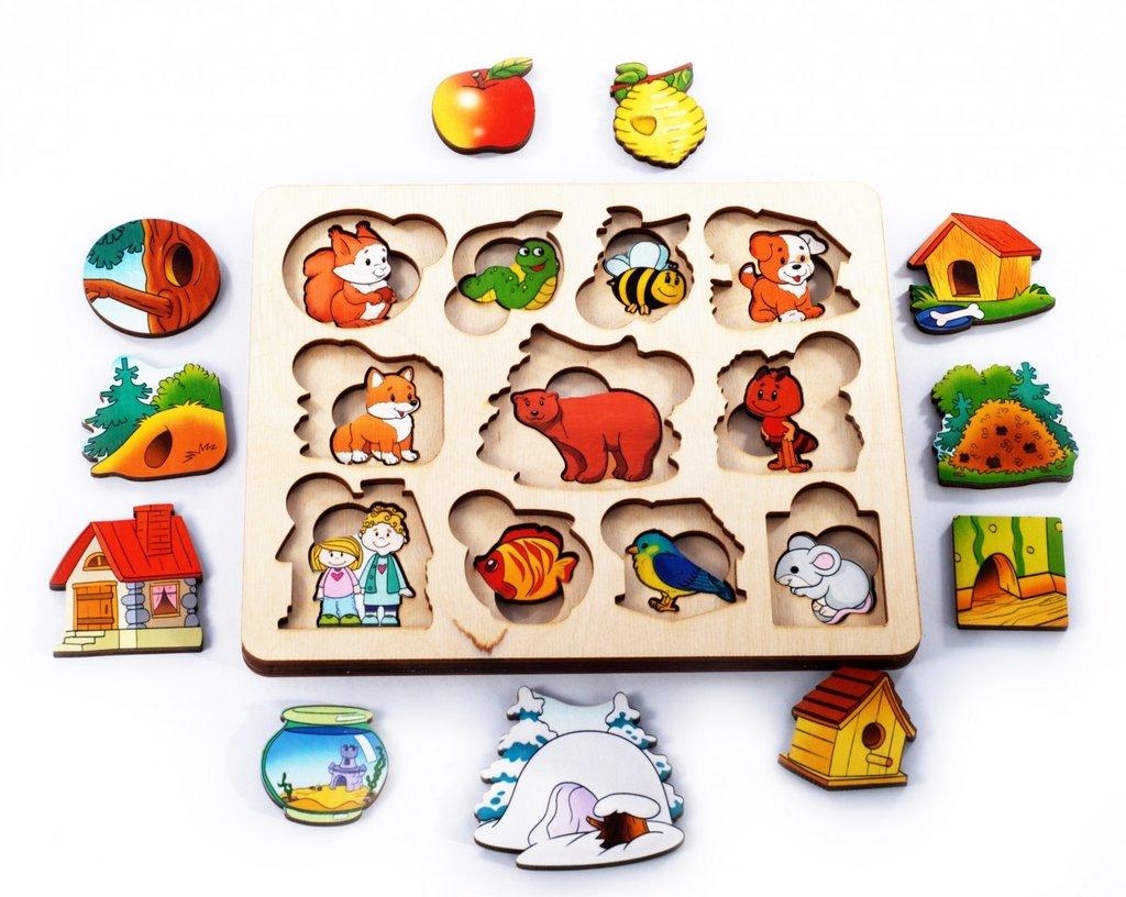 Игрушки для малышей: Нескучные игры 7993 ДНИ Пазл-рамка для малышей Где чей домик? (2 слоя) в Игрушки Сити