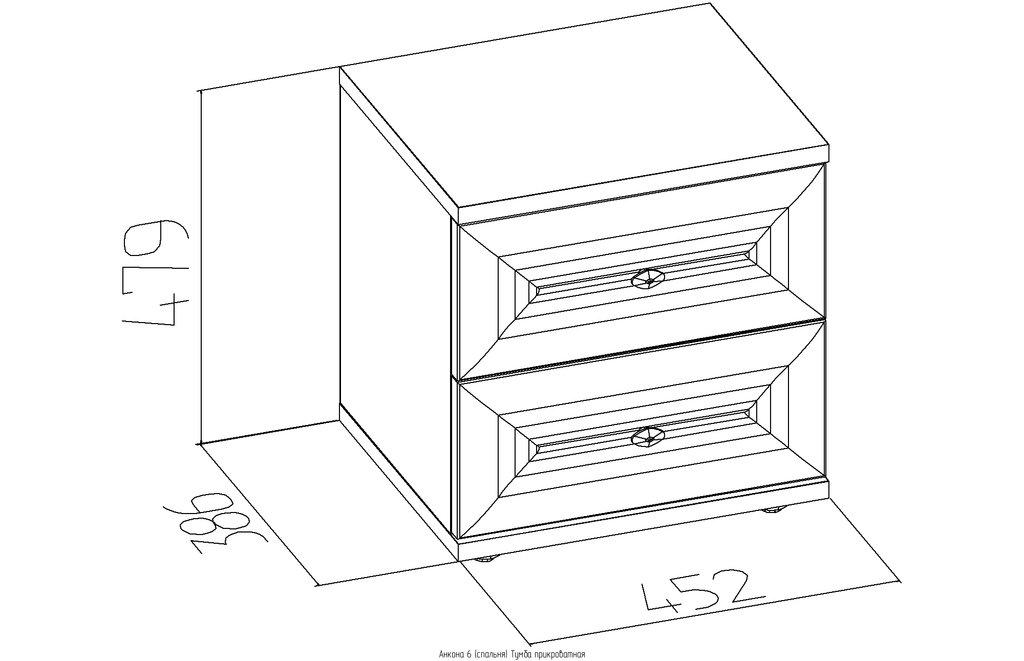 Прикроватные тумбочки: Тумба прикроватная Анкона 6 в Стильная мебель