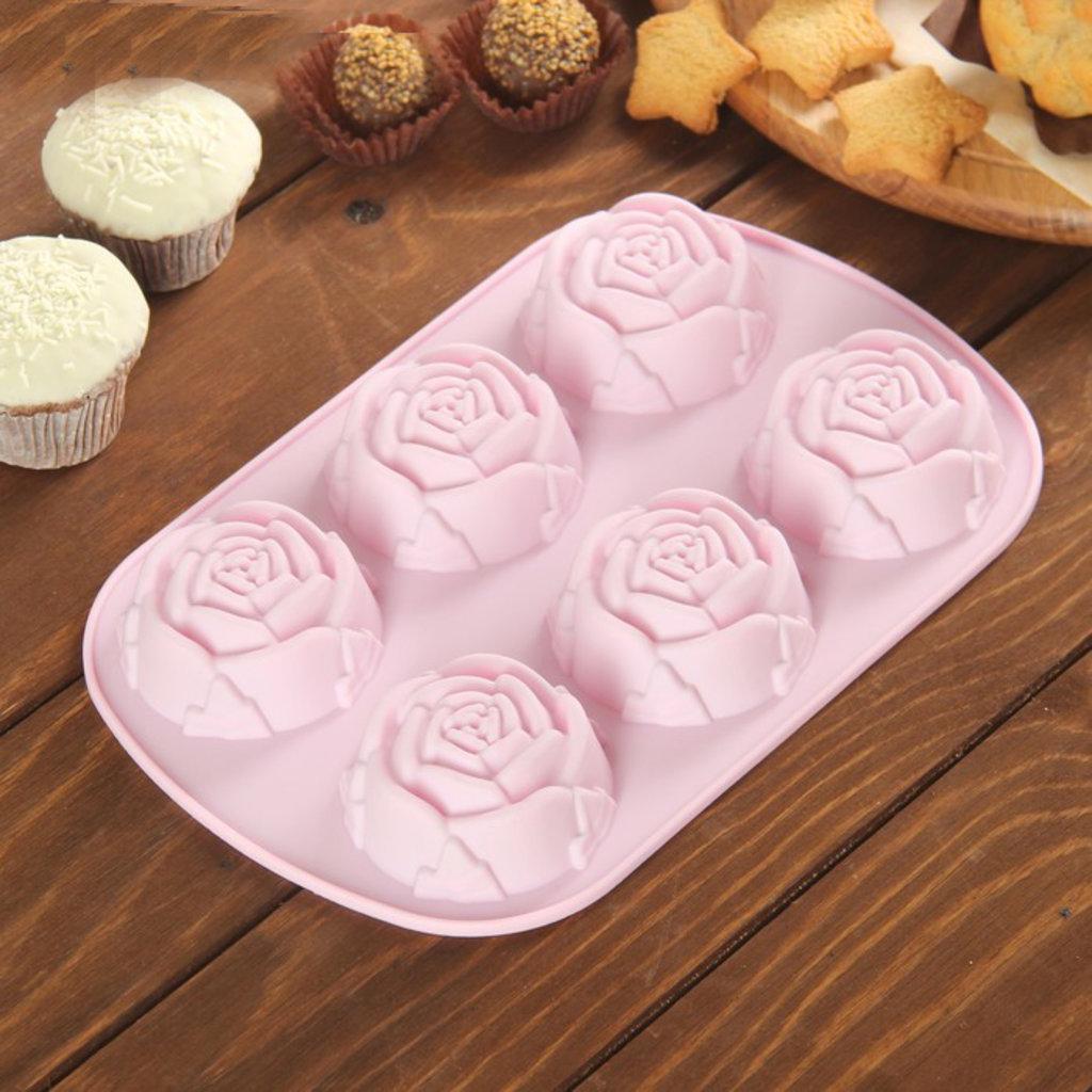 Силиконовые формы для выпечки: Форма для выпечки «Роза», 6 ячеек, цвет МИКС в ТортExpress