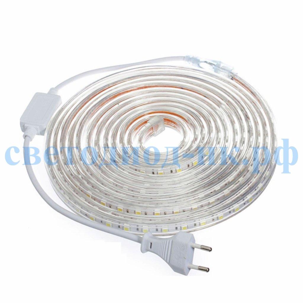 Светодиодная лента 220В: Светодиодная лента SMD5050 60 диодов на 1м в силиконовой трубке IP67 220В белый) в СВЕТОВОД