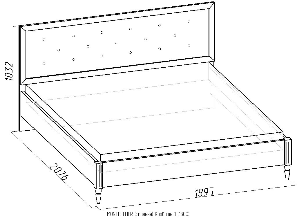 Кровати: Кровать Montpellier 1 (1800, орт. осн. дерево) в Стильная мебель