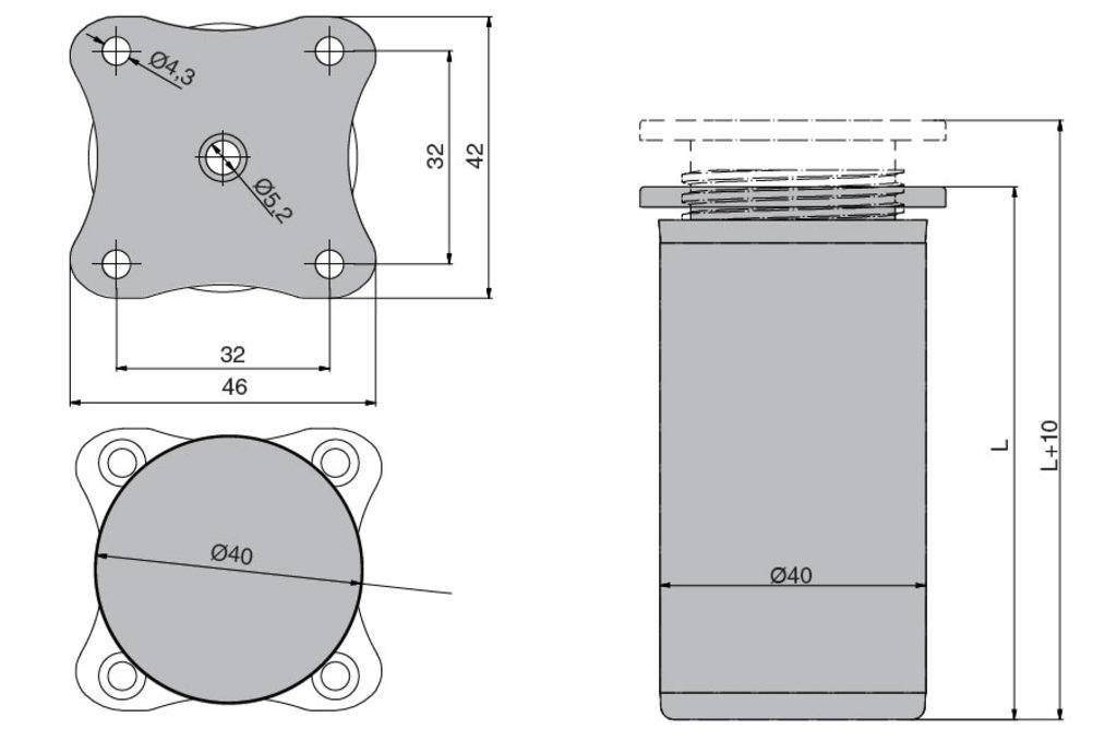 """Мебельная фурнитура """"НОВИНКИ"""": Ножка декоративная d.40мм, h.150мм, отделка алюминий анодированный в МебельСтрой"""