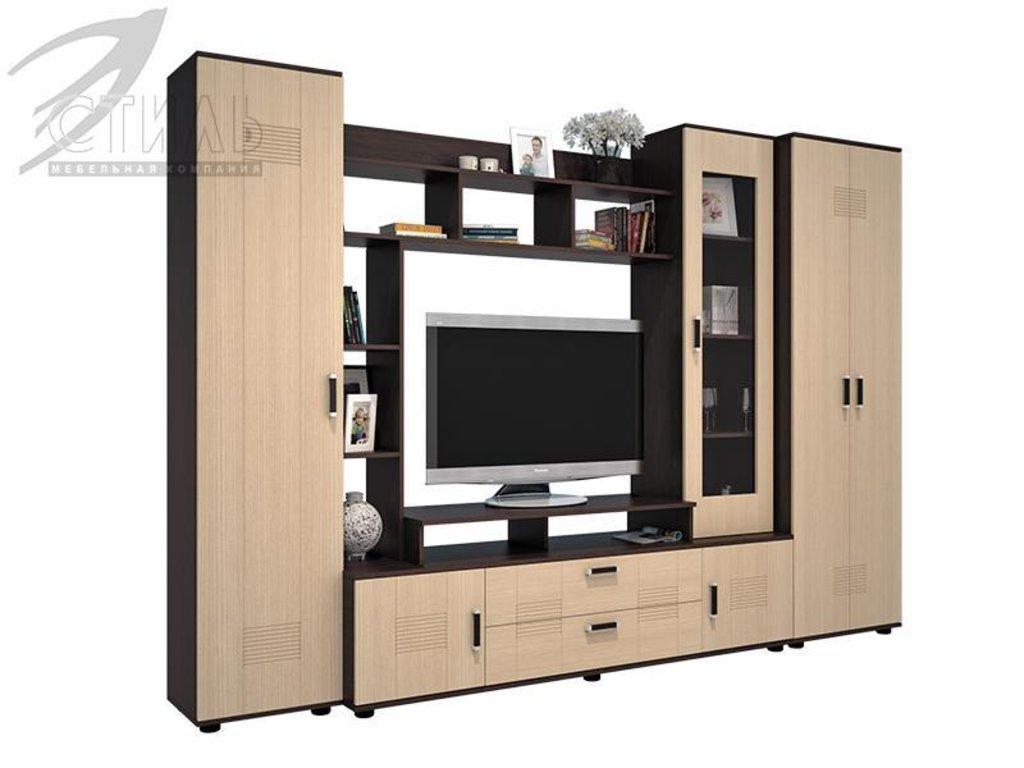 Мебель для гостиной Стиль - 7(А) + шкаф МДФ: Гостиная Стиль-7(А) МДФ (венге, клен светлый) в Диван Плюс