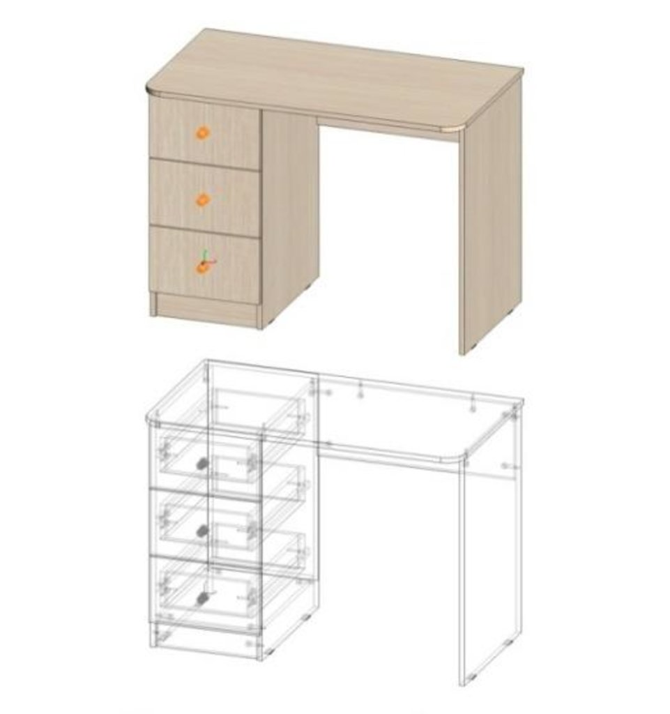 Мебель для детской Мийа - 3 (дуб молочный, фотопечать): Стол прямой СП-309 Мийа - 3 в Диван Плюс