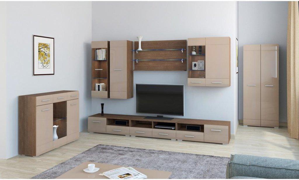 Модульная гостиная Сити: Шкаф навесной 1-дверный остеклённый Сити в Уютный дом