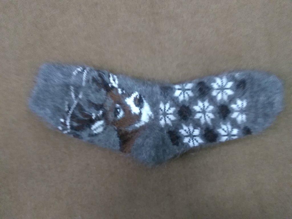 Варежки, носки, гольфы, наколенники: Носки женские из собачьей шерсти с рисунком в Сельский магазин