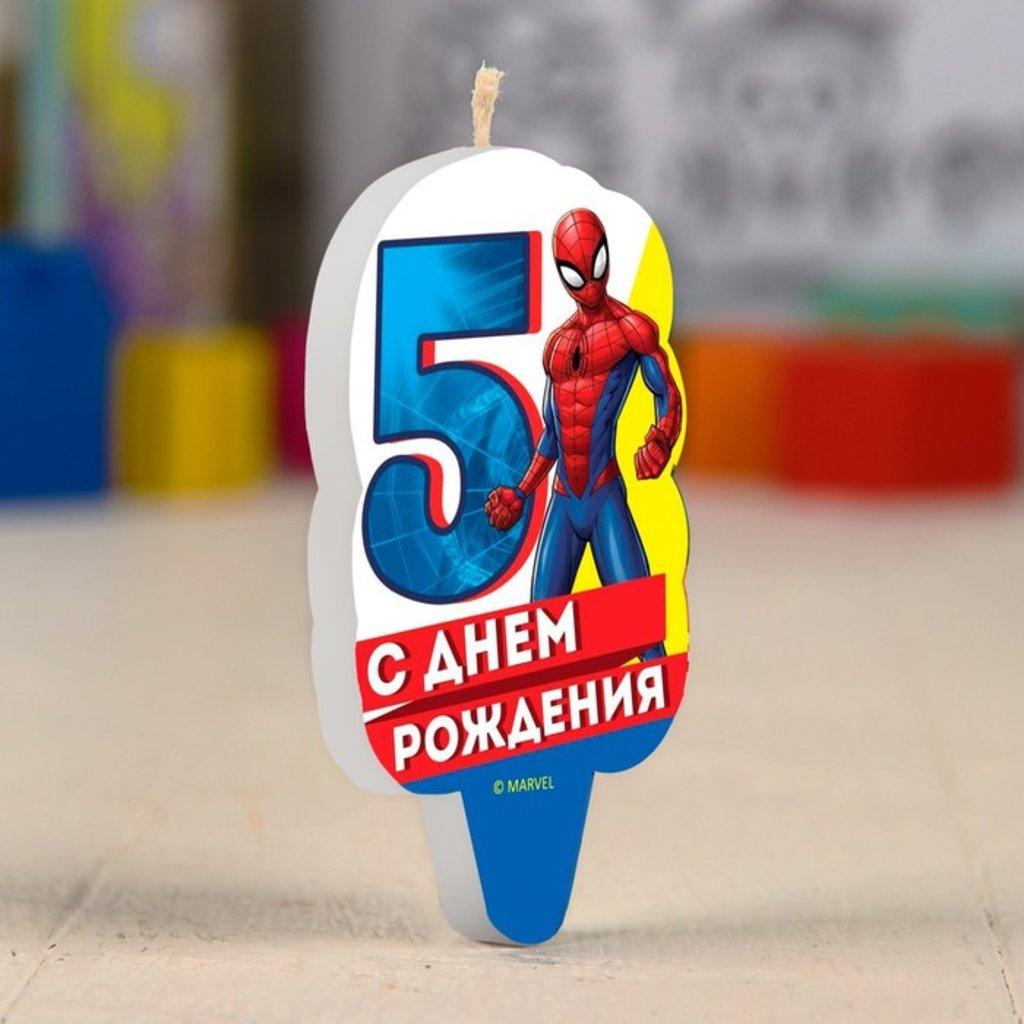 """Свечи: Свеча в торт 5 """"С Днем Рождения"""", Человек-паук в ТортExpress"""