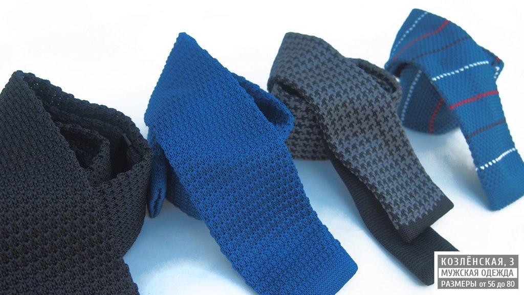 Аксессуары: Мужской вязаный галстук в Богатырь, мужская одежда больших размеров