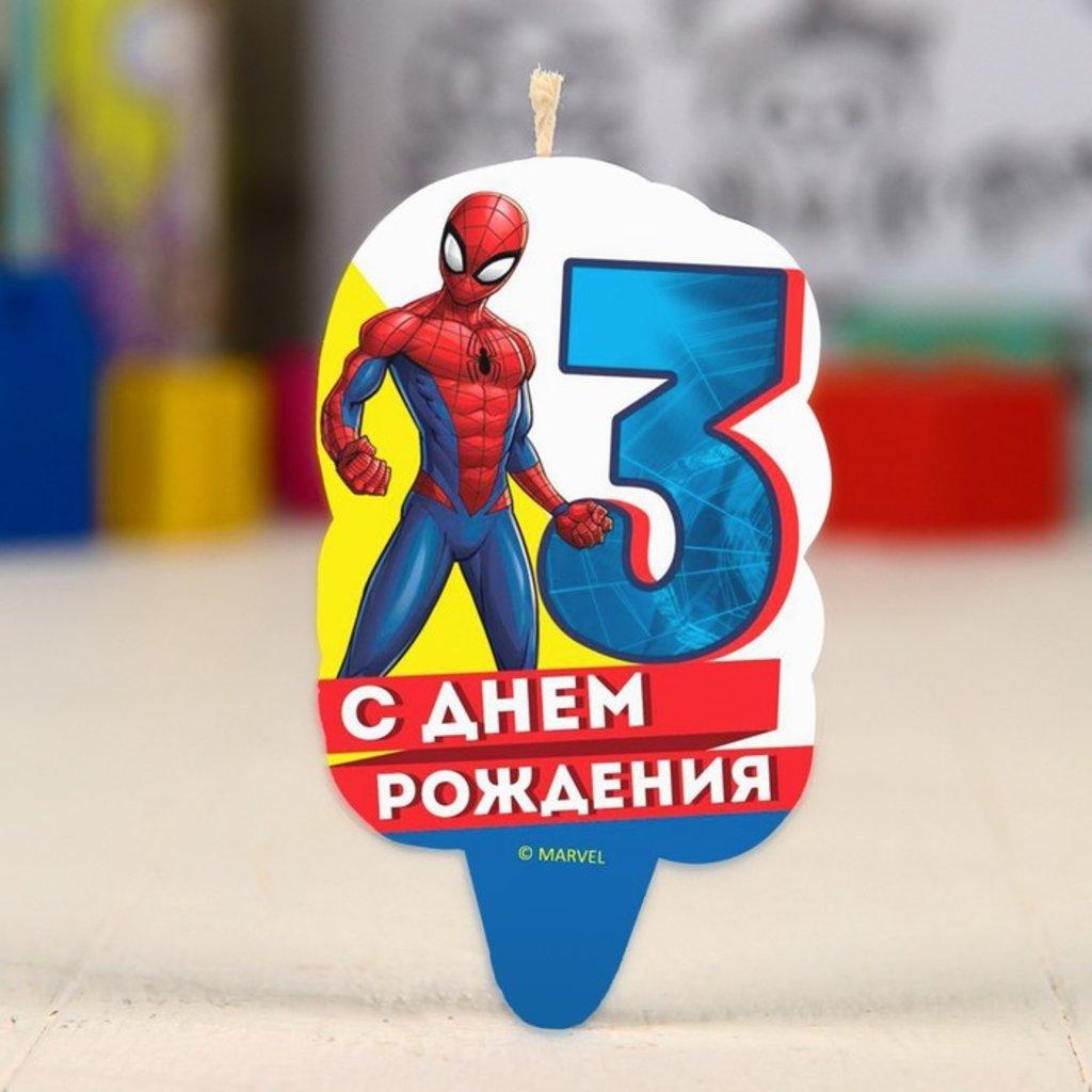 """Свечи: Свеча в торт 3 """"С Днем Рождения"""", Человек-паук в ТортExpress"""