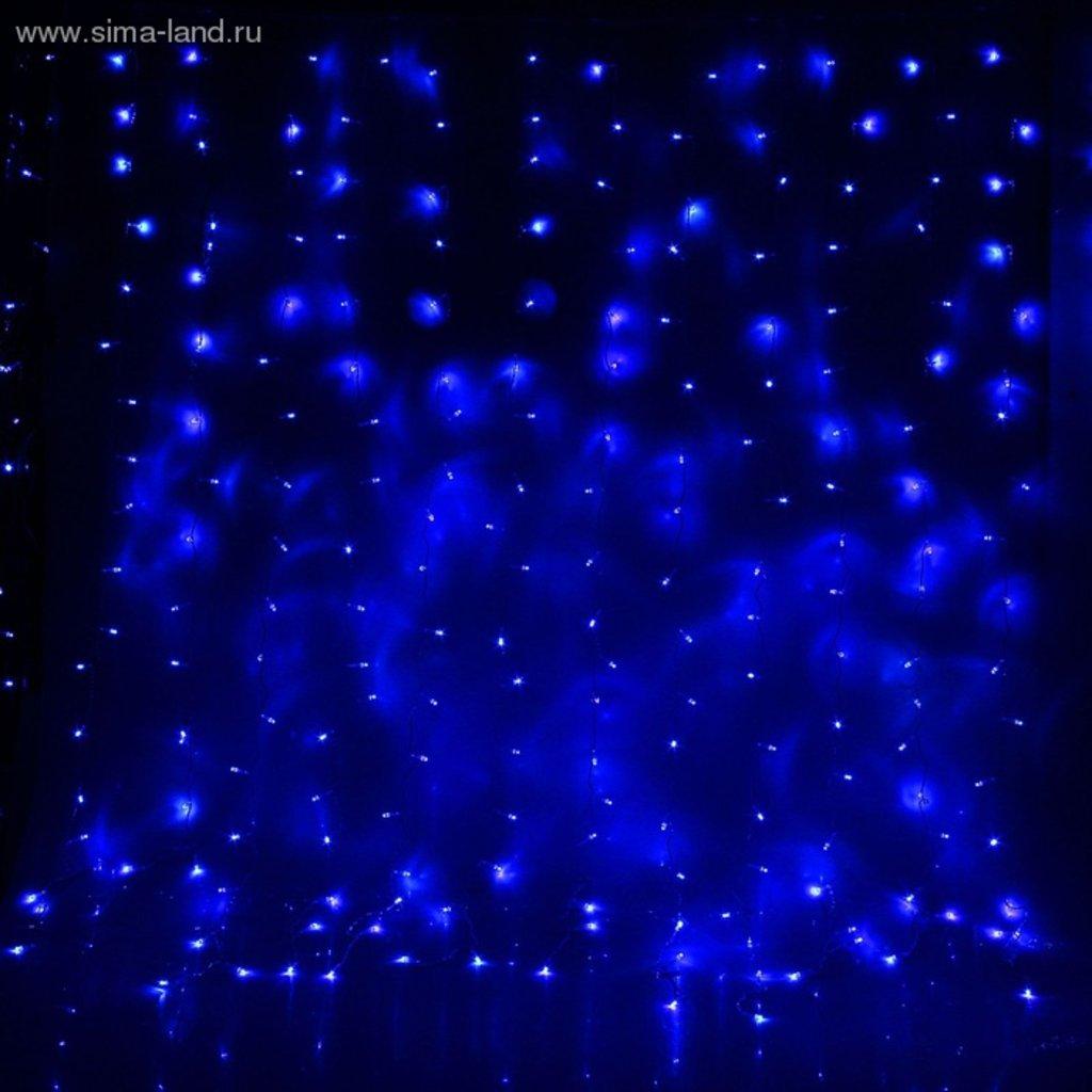 """Светодиодный дождь: Гирлянда """"Занавес"""" УМС вилка Ш:2 м, В:1,5 м, Н.С. LED-360-220V, контр. 8 р, СИНИЙ в СВЕТОВОД"""