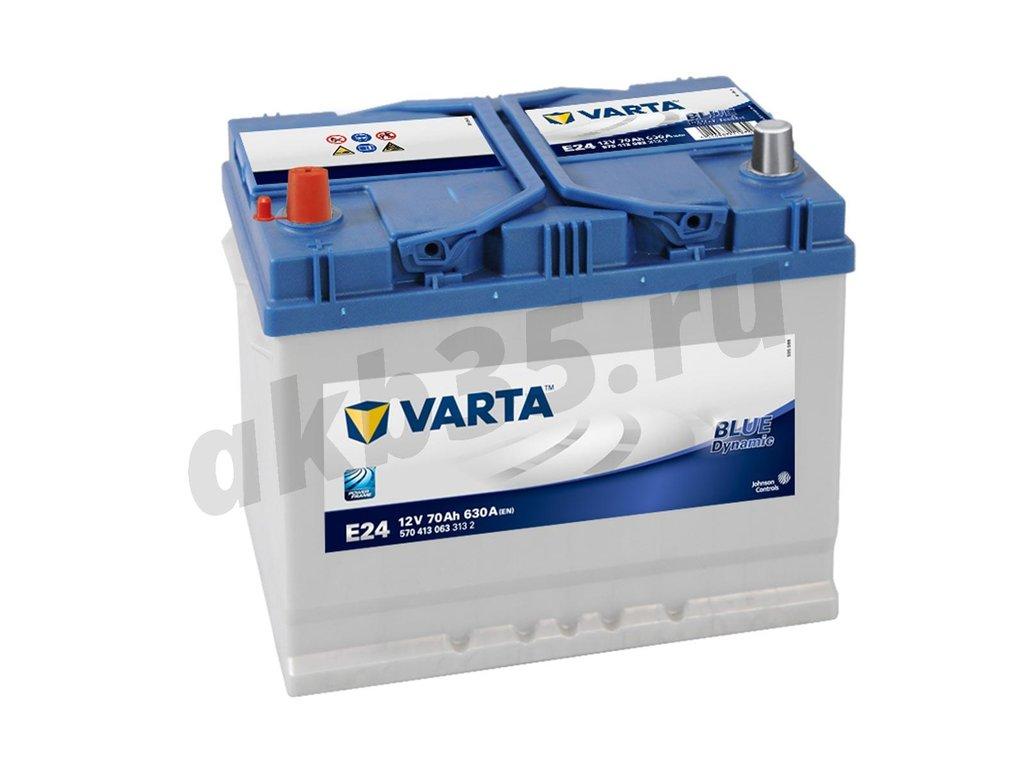 Аккумуляторы: VARTA 6СТ-70  E24 (570 413) /П.П. ASIA в Планета АКБ