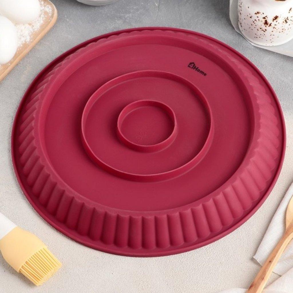 """Силиконовые формы для выпечки: Форма для выпечки """"Рифленый круг""""  Размер упаковки  27,5 см × 27,5 см × 3,5 см в ТортExpress"""