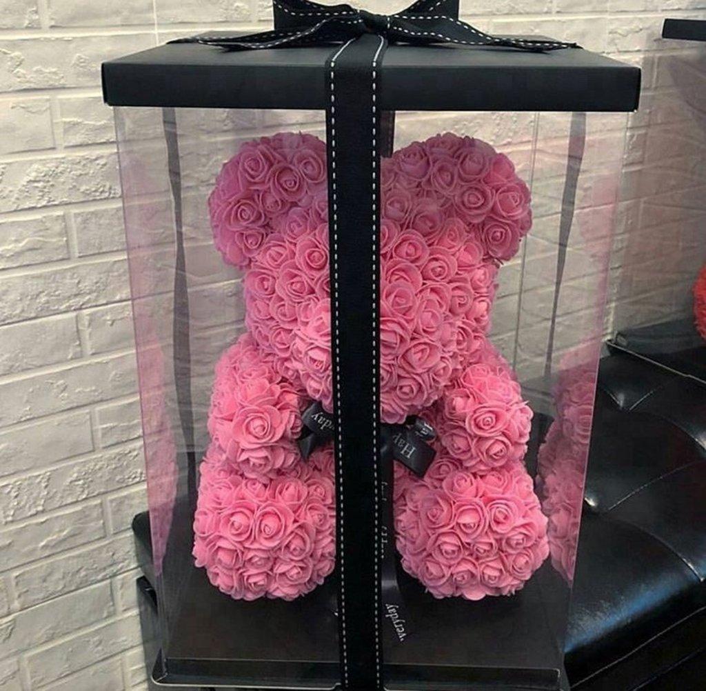 Новинки: Мишка из роз розовый 25см в коробке в Мой флакон