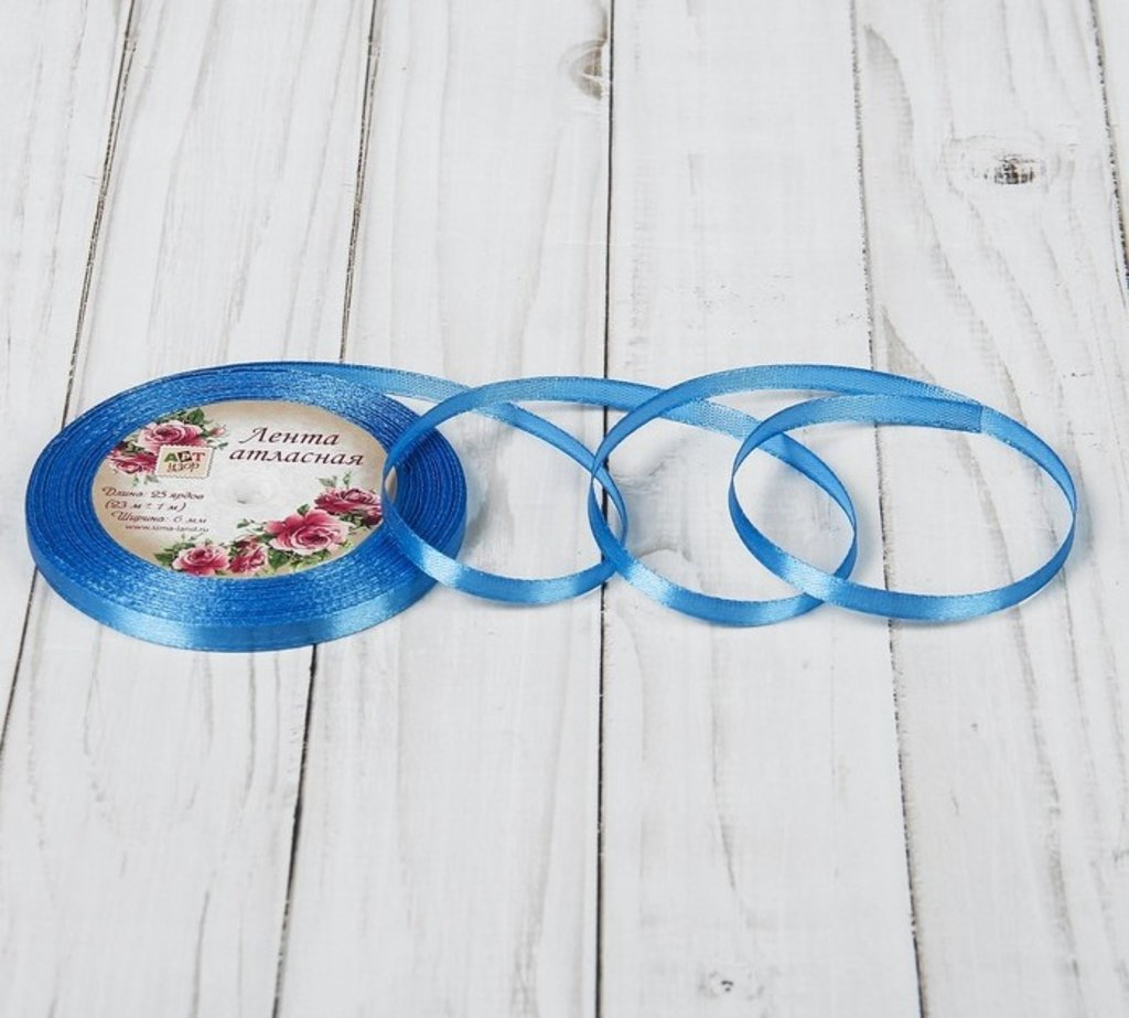 Ленты атласные: Лента атласная, 6 мм × 23 цвет синий №36 в ТортExpress