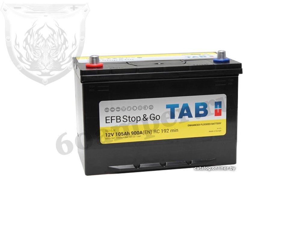 Аккумуляторы: TAB 105 А/ч Прямой Азия Нижнее крепление EFB Stop&Go JIS в Планета АКБ